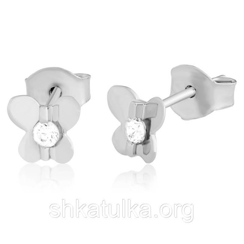 Серебряные серьги с фианитом детские С2Ф/485