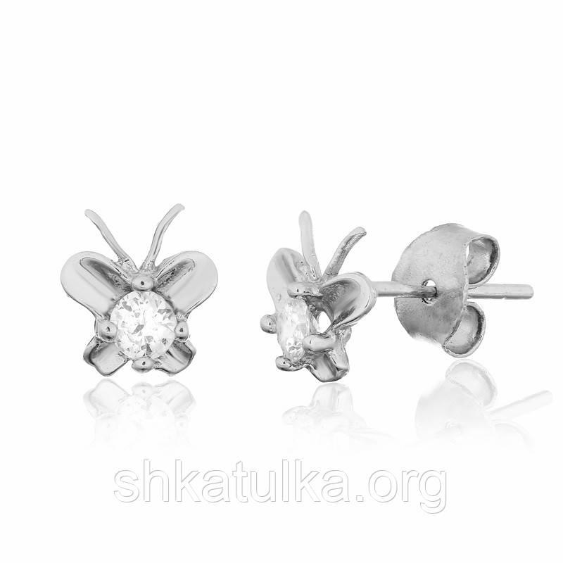 Серебряные серьги с фианитом детские С2Ф/491