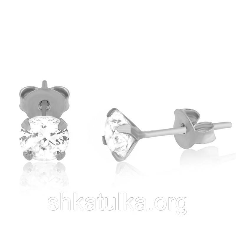 Серебряные серьги с фианитом детские С2Ф/606