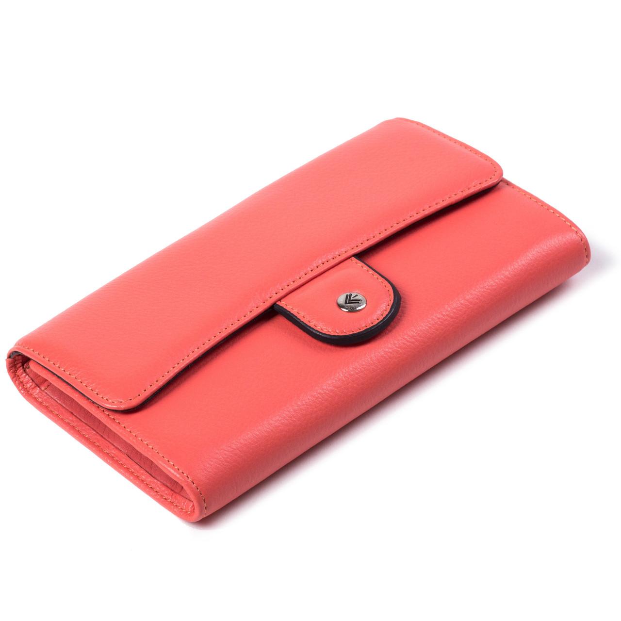 Женский кошелек кожаный коралловый Eminsa 2096-12-25