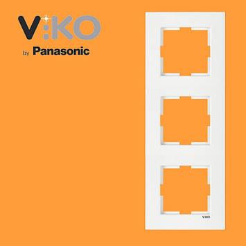 Потрійна вертикальна рамка VIKO Karre Білий, фото 2