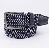 Плетеный ремень резинка Alon (оригинал) 4900-105 синий меланж, ширина 35 мм, фото 1