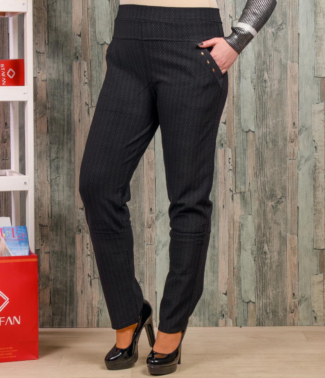 Женские брюки со стразиками на карманах Алия 1211-21 3XL-4XL. Размер 5
