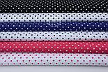 Набор хлопковых тканей 50*50 из 6 штук с горошком 3 мм ( малинового, синего, чёрного и белого цвета), фото 3