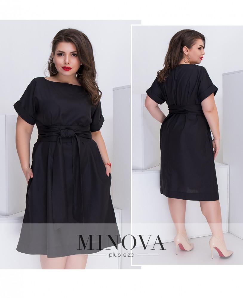 eab20aa05c6 Платье-оверсайз с короткими рукавами и съемным поясом из коттона (размеры  44-52