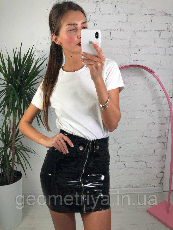 e99f7614439 Лаковая черная мини юбка - Интернет-магазин Геометрия в Харькове