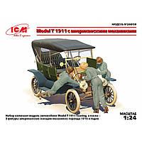 MODEL T 1911 TOURING АВТОМОБИЛЬ С АМЕРИКАНСКИМИ МЕХАНИКАМИ. 1/24 ICM 24010