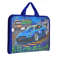 """Папка - портфель на молнии с тканевыми ручками А4 """"Street racing"""" арт.491423"""