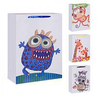 """(Цена за 12шт) Пакет подарочный бумажный """"Детский"""" 18х23см, 12 штук в упаковке, с ручками, пакет для подарка, картонный пакет сувенирный, картонный"""