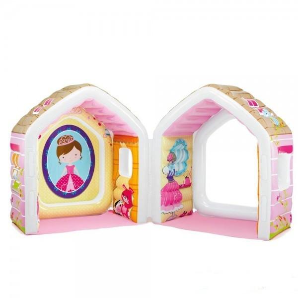 Детский надувной игровой домик Princess Play House Intex 124х109х122см