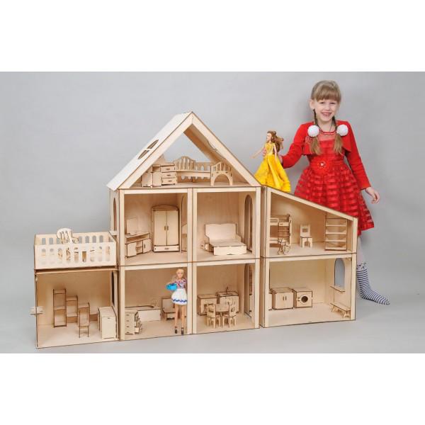 Домик для кукол Большой особняк для Барби с пристройками (без мебели)