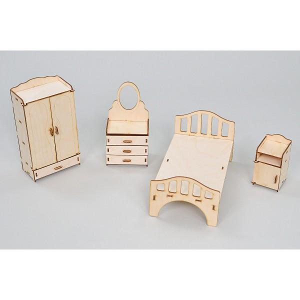 Набор игровой кукольной мебели Спальня Премиум