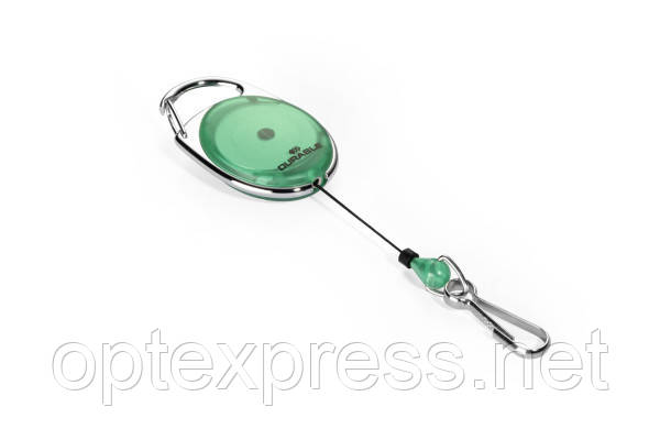 Овальная рулетка 8327 05 зеленая с карабином  DURABLE
