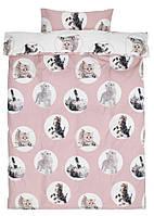 Комплект детского постельного белья розовое с принтом котята (100% хлопок) 140х200 см.
