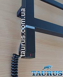 Чёрный стальной ТЭН TERMA ONE квадратный 30x30 black: регулятор 45 и 60C, с таймером 2ч., под пульт ДУ. Польша