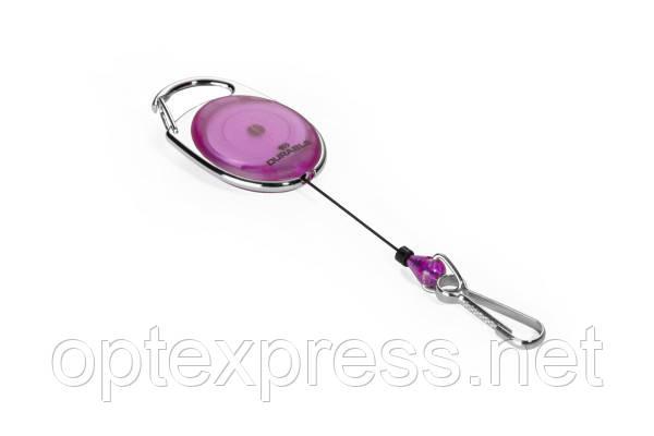 Овальная рулетка для бейджа 8327 12 лиловая с карабином  DURABLE