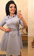 Повседневное женское платье рубашка на поясе воротник стойка коттон