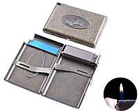 """Портсигар в подарочной упаковке с зажигалкой на 18 сигарет """"Автомобиль"""" №3305-5"""