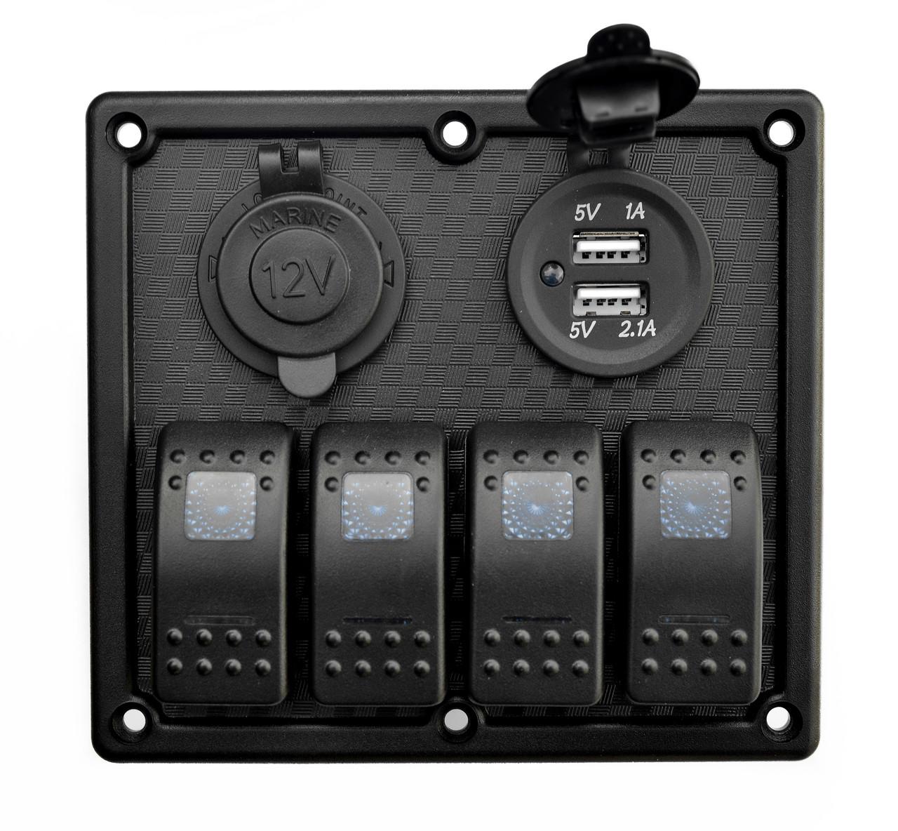 Панель на 4 переключателя автомат 70х110мм + прикуриватель и двойной USB порт HF60-324B