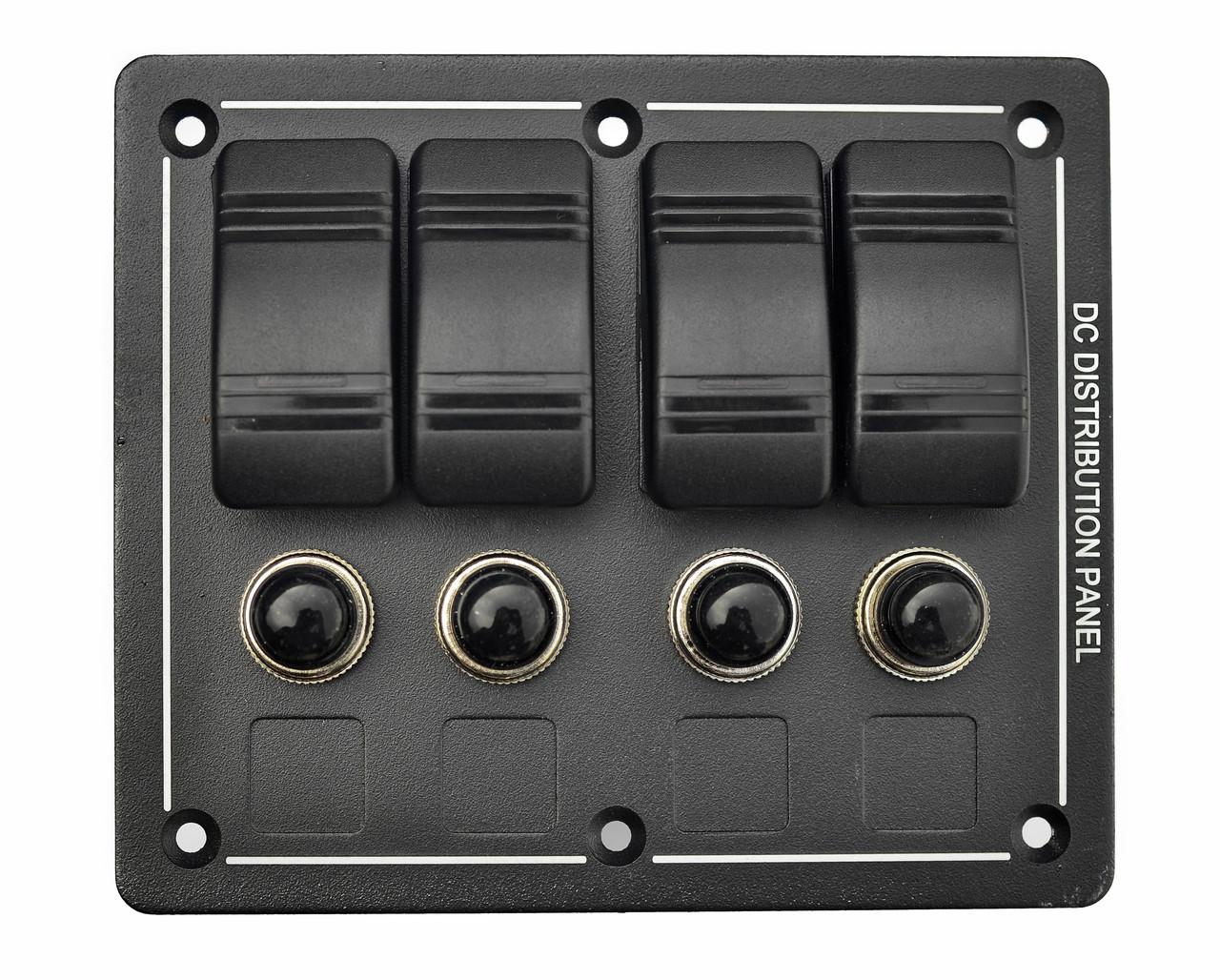 Панель на 4 переключателя автомат 86х102мм ROCKERS HF60-104B