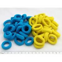 Резинка для волос средняя жёлто-синяя, диаметр 3 см, упаковка 20 шт.