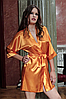 Домашній комплект атласний: халат і пеньюар розмір L (46-48), шовк, помаранчевий