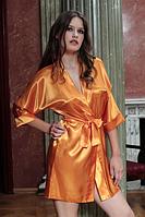 Домашний комплект атласный: халат и пеньюар размер L (46-48), шелк, оранжевый