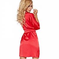 Домашний комплект атласный: халат и пеньюар размер XL (46-48) шелк, красный