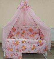 Детский постельный набор в кроватку 8 предметов розовый