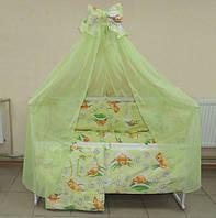 Детский постельный набор в кроватку 8 предметов зеленый