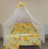 Детский постельный набор в кроватку 8 предметов желтый