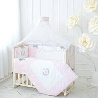 Детский постельный комплект из 7 элементов De Lux,розовый, фото 1