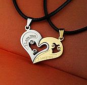 Набор кулонов в форме сердца для влюбленных пар