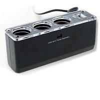 Удлинитель-тройник для прикуривателя авто с USB, мощность 60W, фото 1