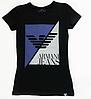 Брендовая женская футболка черная с рисунком Armani