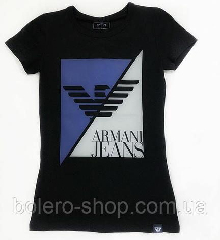 Брендовая женская футболка черная с рисунком Armani, фото 2