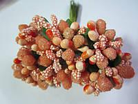 """Тычинки для цветочного венка - """"шишечки"""" рыжие, букетик из 12 соцветий, длина 12 см, фото 1"""