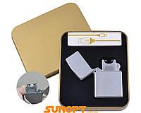 Электроимпульсная зажигалка в подарочной упаковке Серебро (Под гравировку, USB) №XT-4888