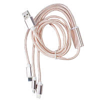 ϞКабель для смартфона USB 2.0 в оплетке MicroData Type-C - microUSB/Lightning 1.2m Pink передача данных