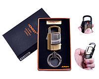 """USB зажигалка-брелок в подарочной упаковке + Фонарик/Карабин """"Honest"""" (Спираль накаливания) №4865-1"""