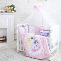 Детский постельный комплект из 7  элементов Akvarel Фея, розовый