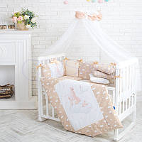 Детский постельный комплект из 7  элементов Akvarel Зайки, бежевый, фото 1