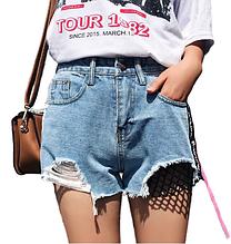 Шорты джинсовые женские с сеткой высокая посадка