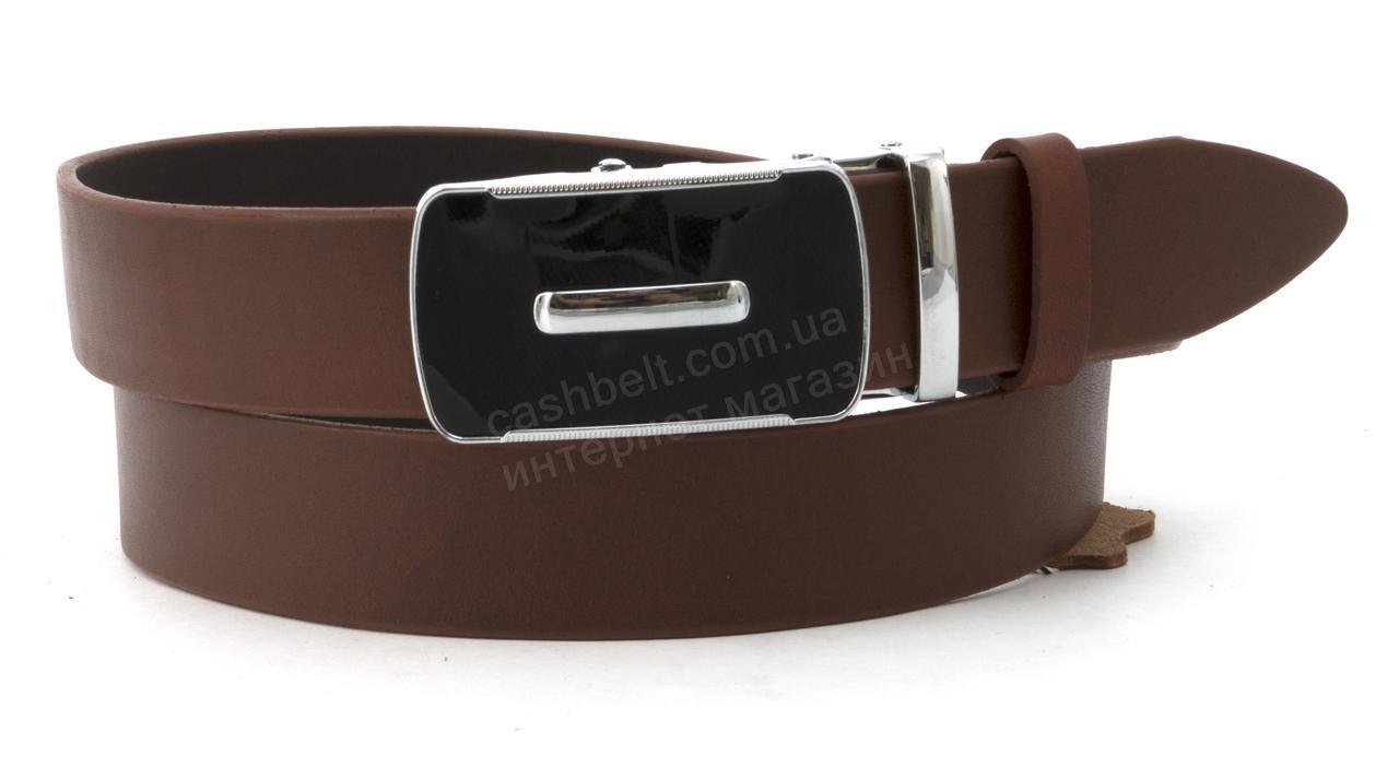 Качественный мужской кожаный ремень с качественной пряжкой автомат 3,5 см Украина (102607) коричневый