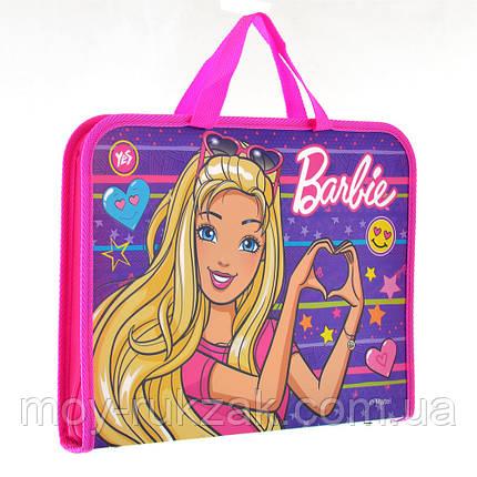 """Папка - портфель на молнии с тканевыми ручками А4 """"Barbie"""" арт.491405, фото 2"""