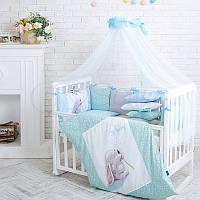 Детский постельный комплект из 7  элементов Akvarel Одуванчики, голубой, фото 1