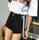 Шорты женские джинсовые с лампасами (черные), фото 2