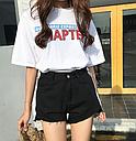 Шорты женские джинсовые с лампасами (черные), фото 3