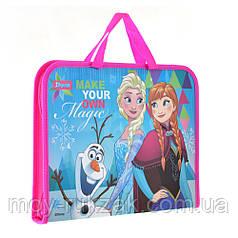 """Папка - портфель на молнии с тканевыми ручками А4 """"Frozen"""" арт.491413"""