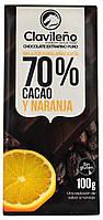 """Шоколад черный """"Clavileno"""" с Апельсином (70% Какао) 100г."""